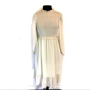 Lulus Boho Prairie Style Cream Maxi Dress
